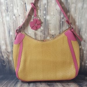 Fossil Straw Handbag With Flower Hang Tag